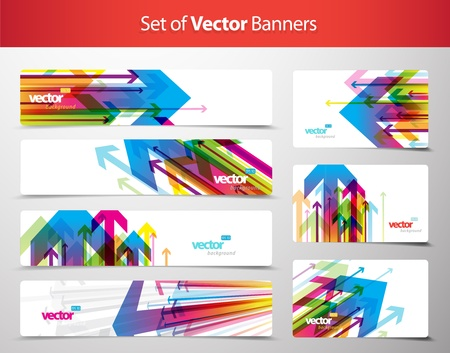 discount banner: Set of gift cards and banners with arrows. Illustration