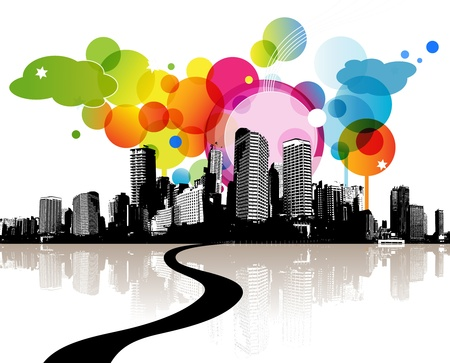 Abstract illustration with city.  Vector