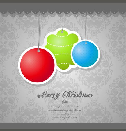 Christmas decoration on flower wallpaper. Vector