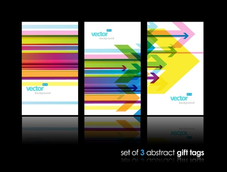 Set of gift cards with arrows.  Illustration