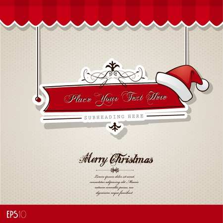 Christmas card with red hat. Stock Vector - 10933876