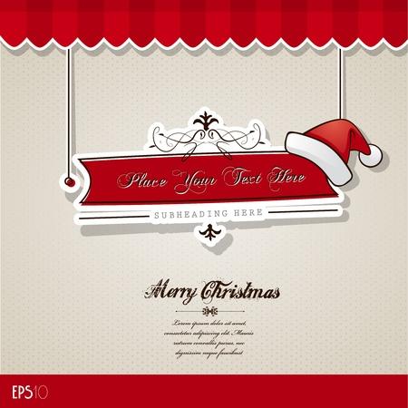 Weihnachtskarte mit rotem Hut.
