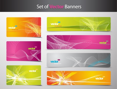 Set of abstract colorful web headers and gift cards.  Ilustração