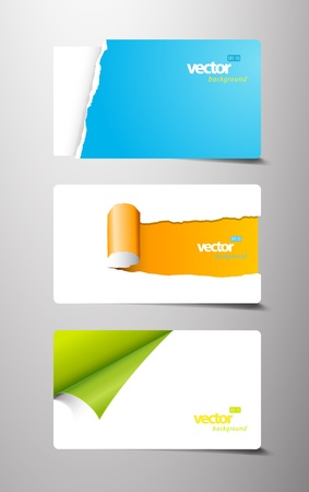 Set of gift cards with rolled teared corners.  Illustration