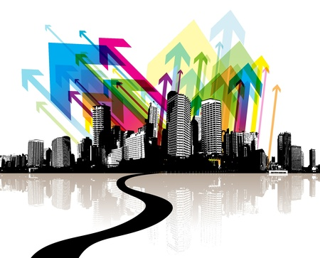 Abstract illustration with city. Ilustração