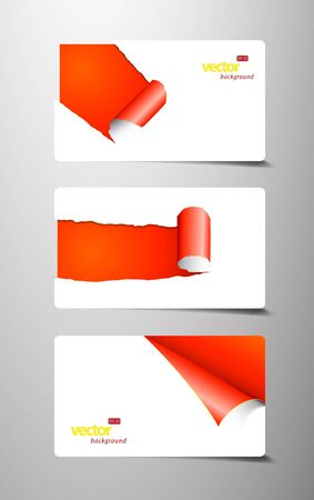 Set of gift cards with rolled corners.  Vector