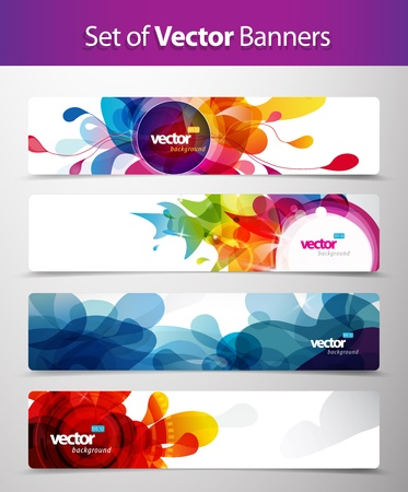 discount banner: Set of abstract colorful web headers.