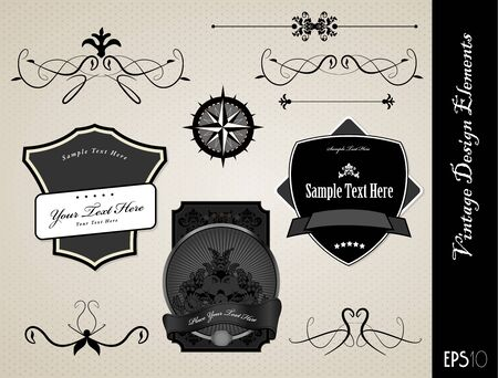 Collection of black and white ornate labels Vector