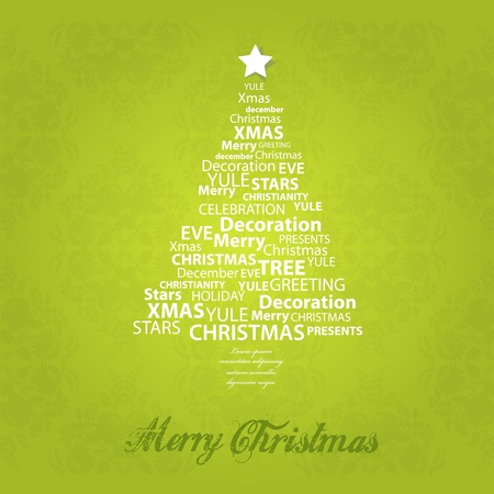 Christmas tree of christmas words. Vector