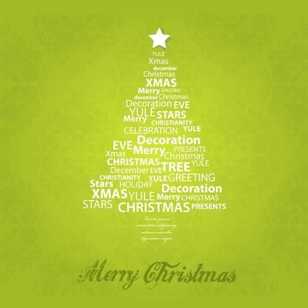 Christmas tree of christmas words. Vector