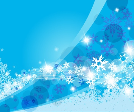 happy new year text: Christmas blue background with snow flakes.