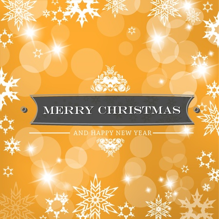 Christmas orange background with snow flakes. Stock Vector - 11254652