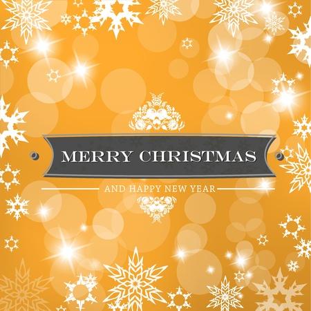 Christmas orange background with snow flakes. Illustration