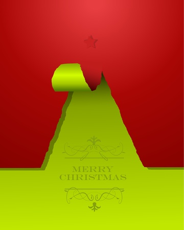 Christmas tree of teared paper with star on the top Illustration
