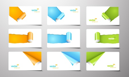 Set of gift cards with rolled corners. Ilustrace