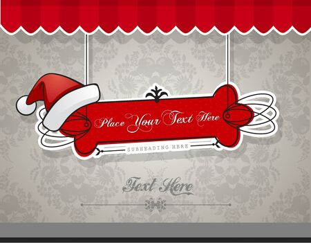 Christmas card with red hat.  Illustration