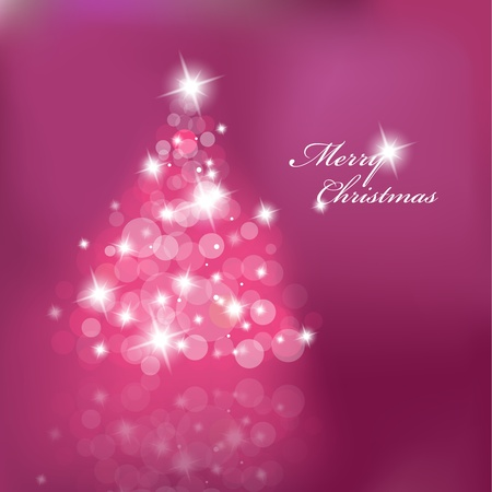 christmas pink: Christmas tree with blurred lights on purple background.  Illustration