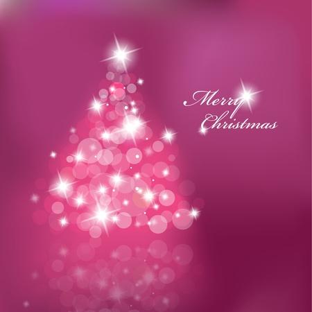 Weihnachtsbaum mit verschwommene Lichter auf violettem Hintergrund.