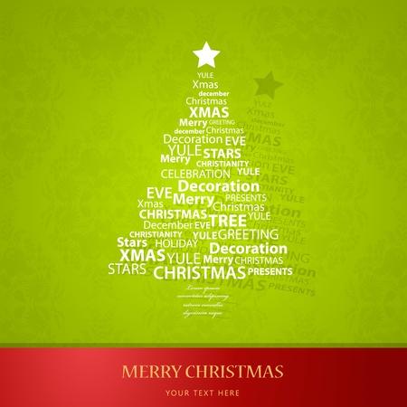 Christmas tree of Christmas words. Stock Vector - 11382883