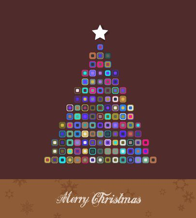 Christmas tree created from colorful dots. Vector