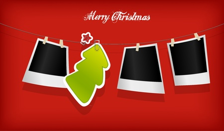 Hanging Christmas tree badge and photographs. Vector art Stock Vector - 11528285