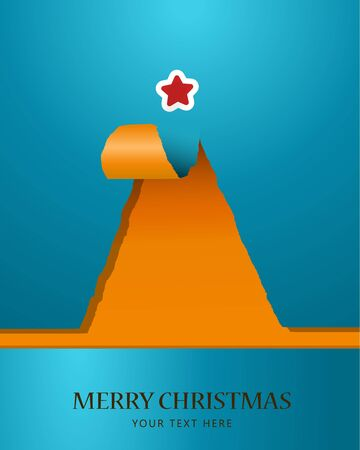 Christmas tree of teared paper with star on the top Vector