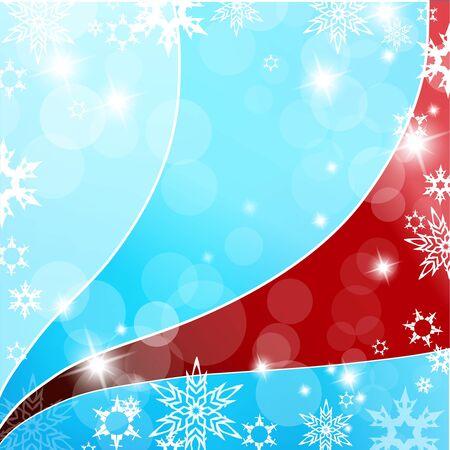 snow flakes: Kerstmis blauwe en rode achtergrond met sneeuwvlokken.