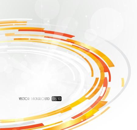 Abstract futuristic orange 3D circle.