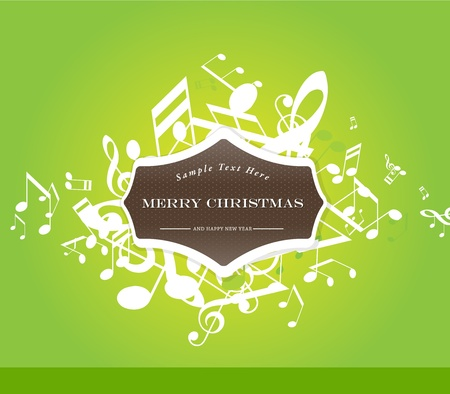 Abstract Christmas  background with tunes. Vector