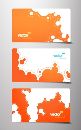 Set of gift cards with bubbles signs. Vector