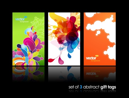 grungy header: Set of abstract colorful splash and flower gift cards with reflection.