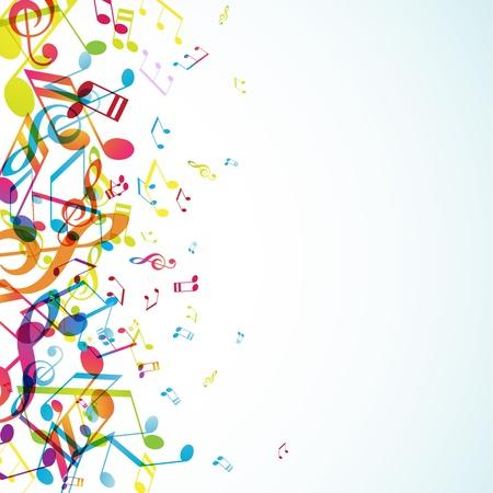 nota musical: Resumen de fondo con temas coloridos. Vectores