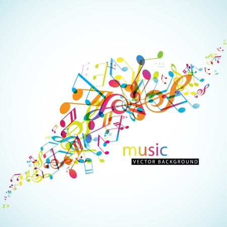 music: Abstract background with colorful tunes.