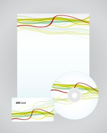 letterhead: template for business artworks: folder, business card and cd on striped background.  Illustration