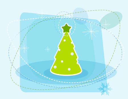 Cartoon Christmas tree.  Vector