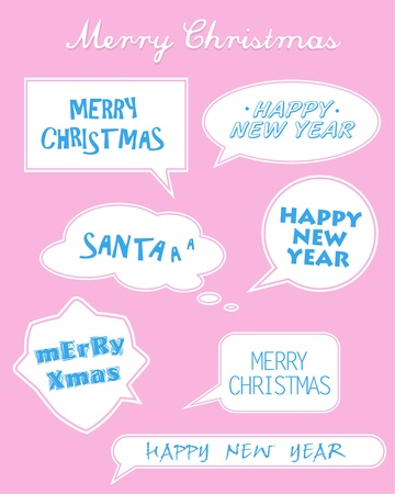 Set of Christmas and New Year stickers in different shapes on pink background. Vector