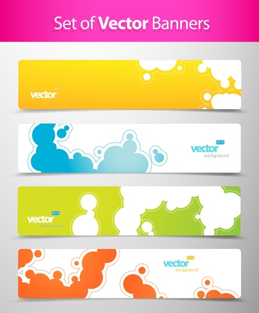 header design: Set of abstract colorful web headers.