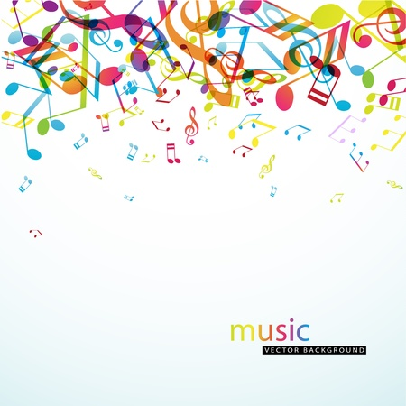 music poster: Abstract background with colorful tunes.