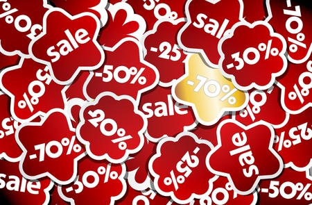 Red and gold sale stickers. Vector