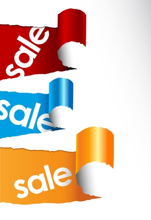 Set of teared papers with sale signs. Vector