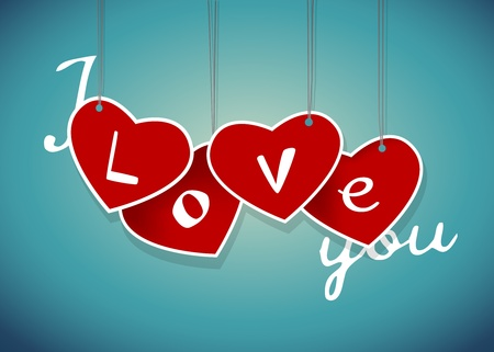 Valentine hanging labels. Vector art  Vector