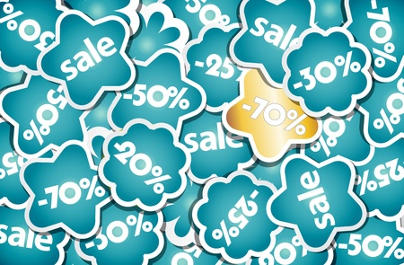 Blue and gold sale stickers. Vector
