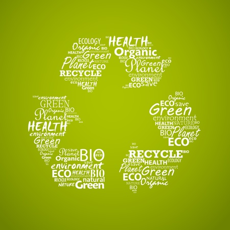 Recycle symbol created from words. Vector