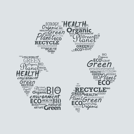 created: Recycle symbol created from words.