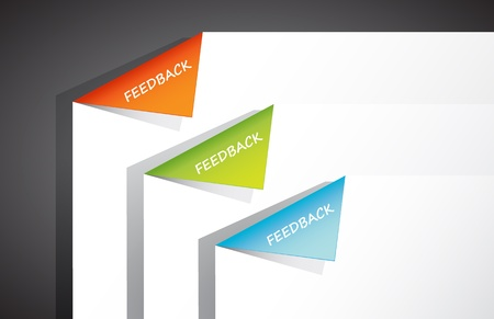 Folded paper in the corner with feedback text. Vector