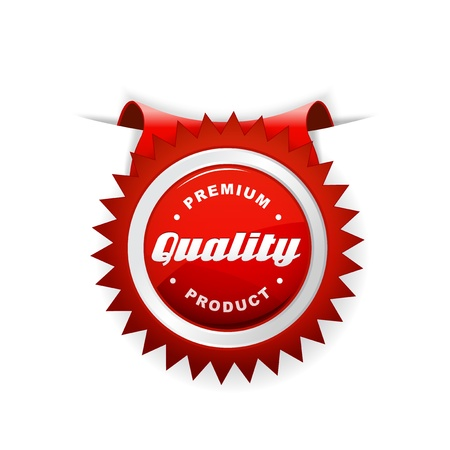 Red label with quality sign. Illustration