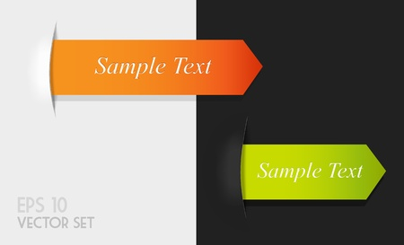 Set of orange and green origami ribbon for your text. Vector
