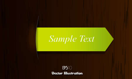 Green arrow ribbon on wooden desk. Vector