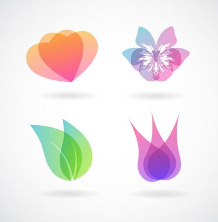 silueta hoja: Conjunto de elementos del vector de colores.
