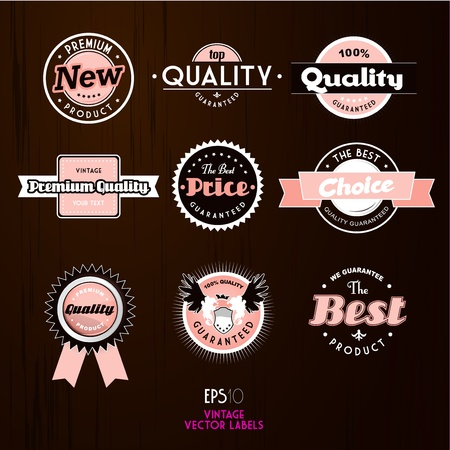 best tag: Set of vintage labels.  Illustration
